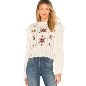 Free People embroidered floral blouse